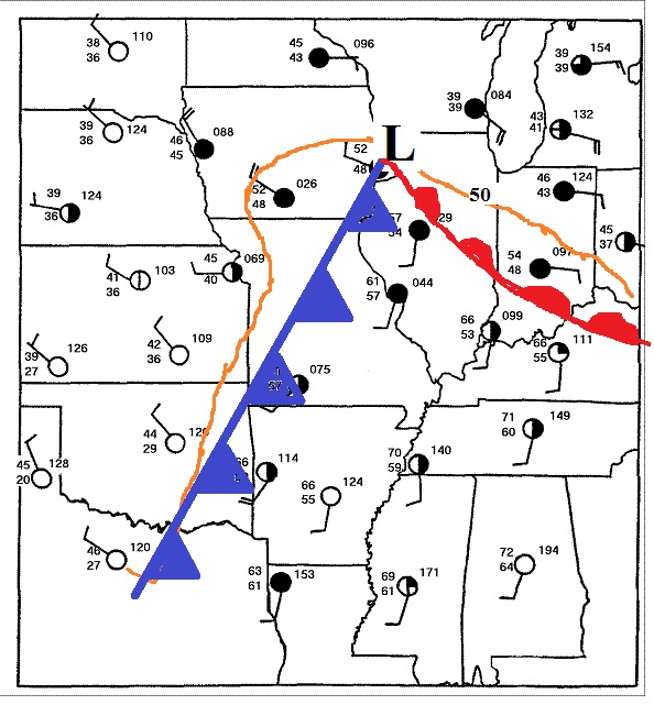 Warm Front Symbol Weather Map.Weather Maps